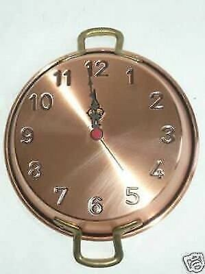 Wall clock copper polished pot pan 23 cm