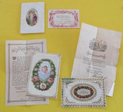 3 SA German 1890 Christening Confirmation Cards with Ornate Envelope