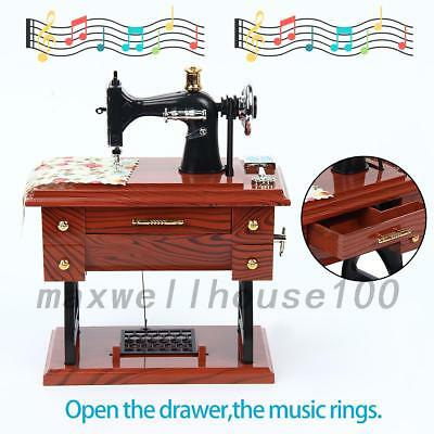 Vintage Music Box Mini Sewing Machine Style Birthday Gift Table Decor