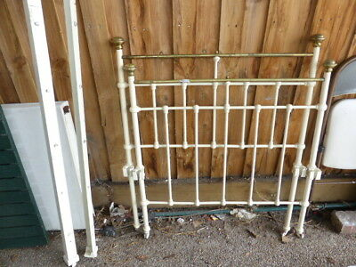 Reduced Antique Brass & Iron Decoritive Single Bed Ends With Rails