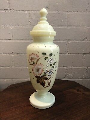 Victorian Glass Urn Form Vase Hand Painted Flowers Antique Ashes Urn