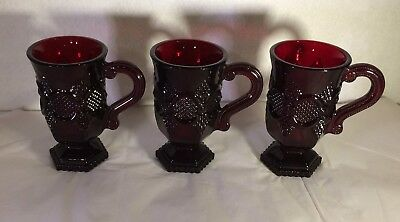 """Vintage Ruby Red Glass Coaco Footed Cups Mugs Avon 60 + Years Set of 3 5"""" Tall"""