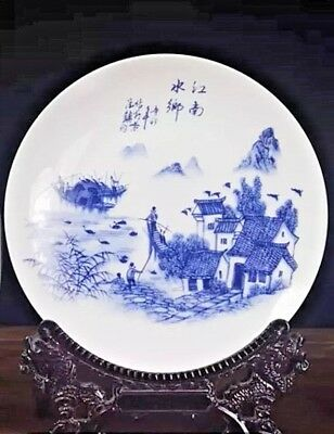 Exquisite Hand Painted Chinese Display Plate Jiang Nan's Fisherman On Boat