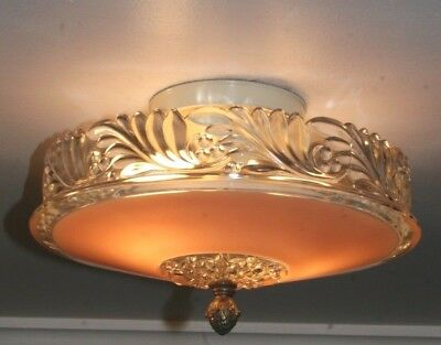 "Antique 12"" pink glass art deco light fixture ceiling chandelier Porcelier 1940s"