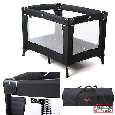 Red Kite Sleeptight Baby Travel Cot Black Fully Padded Top Rails Carry Bag Sleep