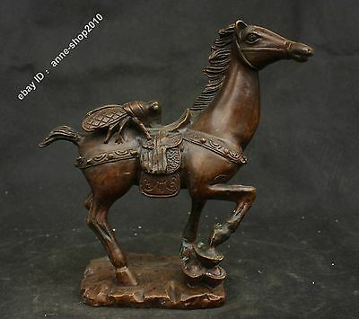 "10"" Collect Chinese Fane Pure Bronze Horse fly Immediately Win Success Sculpture"