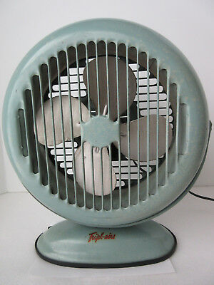 Vintage Tripl-Aire Electric Table Top Metal Blade Fan Works Teal Mid-Century 14""
