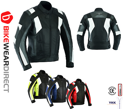 4 Colours - Texpeed Mens Leather Motorcycle / Motorbike Jackets With Armour