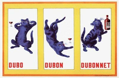 1937 Dubonnet Wine Ad Brewery Drunk Cat French Bar Drinking Deco Poster 319068