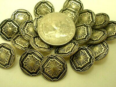 New Lot of Metal Antique Silver Ornate Buttons size 11/16   (SE)