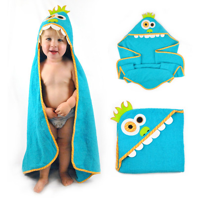 Kids Bath SHOWER TOWEL Wrap With Hood 100% Cotton Towels For Infant Toddler-Blue