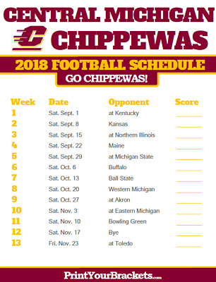 Large! 2018 Central Michigan Chippewas Schedule Magnet College Football Team Log