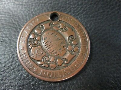 Large 1909 Alaska Yukon Pacific Expo Utah Exhibit Dollar Coin Token Copper Medal