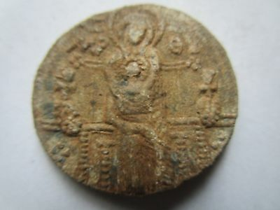 Very rare Byzantine Lead Seal with-Bust of the Virgin and the Christ and Saint