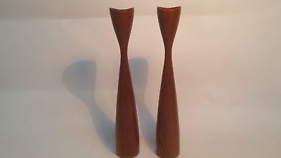 Candle Holders Stand Wood The 60er Vintage Candles Pair