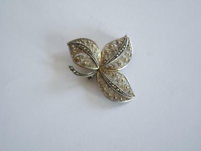 Vintage Beautiful  Filigree Silver Lady Pin Brooch