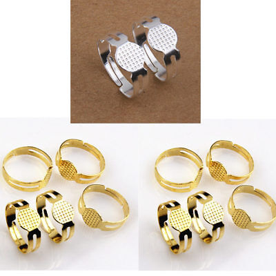 50Pcs Adjustable Ring Blanks Base Pads Children & Adult Sizes Silver or Gold