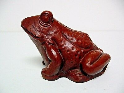 "Frog Figurine 2.5"" Tall Vintage 1986 Brown Resin Excellent Condition"
