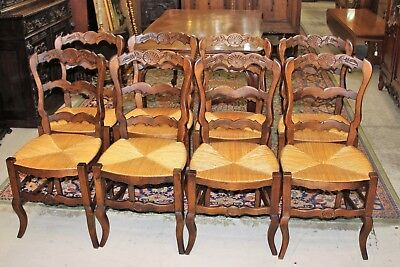 Set of 8 French Antique Oak Wood Louis XV Rush Seat Dining Chairs Living Room