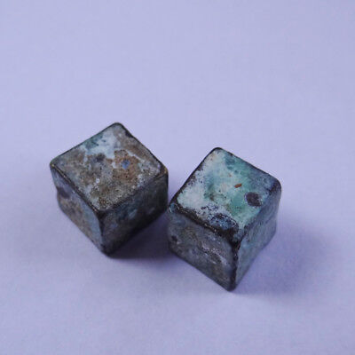 ROMAN ANCIENT ARTIFACT BRONZE GAMBLING DICE  -Lucky PAIR OF DICE