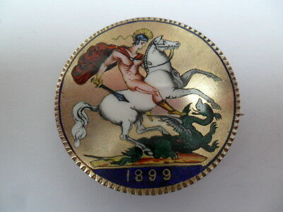 Victorian 1899 Enamelled Silver Crown Coin Brooch