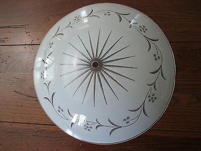 """Set 2 Vtg White Round Dome Glass 13"""" Ceiling Light Fixture Cover Shade Berries"""