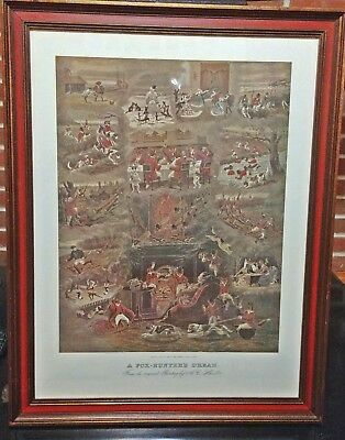 """Vintage Equestrian Large Framed Print A.C. Havell  """"The Fox Hunters Dream"""" 1890"""