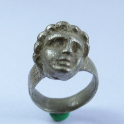 Roman  Ancient Artifact Silver Ring With Roman The Head Of A Young Emperor