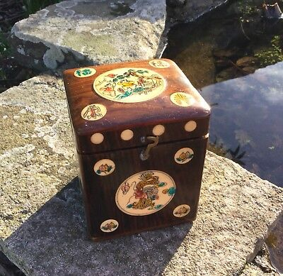 Vintage Chinese Tea Caddy Wooden Inlaid And Painted