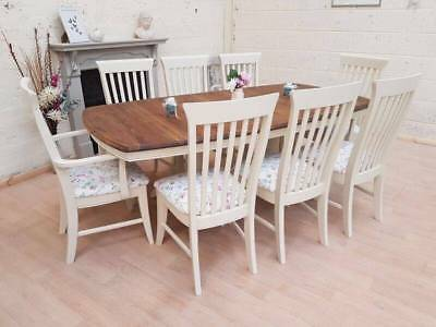 Beautiful shabby chic Ducal 6.5ft farmhouse extending dining table and 8 chairs