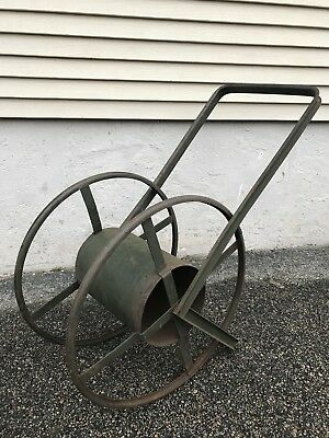 "Antique Old Metal Large 29"" Tall Portable Garden Hose Reel Wheeled Stand Cart"