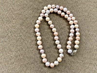 67db8e357faf4 ANTIQUE PEARL NECKLACE Pink to Cream color 7mm/8mm VINTAGE 17