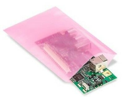 "3""x5"" Anti-Static Lay Flat Poly Bags Pink Hard Drives Electronics 2 Mil PAS"