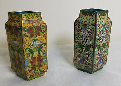 Antique VIntage Chinese Cloisonne Pair of Vases 20th Century Republic