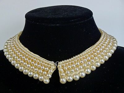 """Vintage 1940s-1950s Faux Pearl Collar w/ Satin Lining, Japan? Small 14-1/4"""""""
