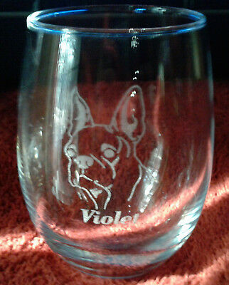 Personalized Dog Stemless Etched Wine Glass