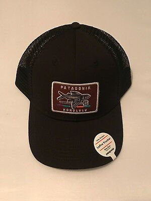 New Patagonia Geodesic Flying Fish Patch LoPro Trucker Hat - Honolulu Black 969ea65353c