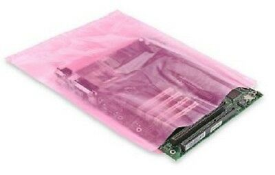 "12""x15"" Anti-Static Flat Poly Bags Pink Hard Drives SSD Electronics 2 Mil PAS"