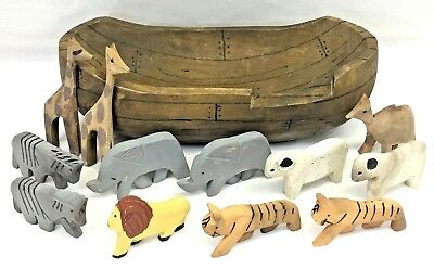 Hand Carved Wood Wooden Noahs Ark Boat Animal Figures Primitive Folk Art Vintage