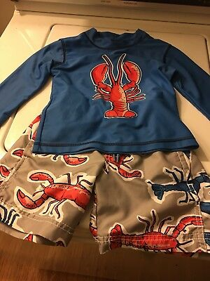 Lot Of 2 Boys Carters Swim Shorts Rash Guard Shirt Aqua Long Sleeve Lobster 2T