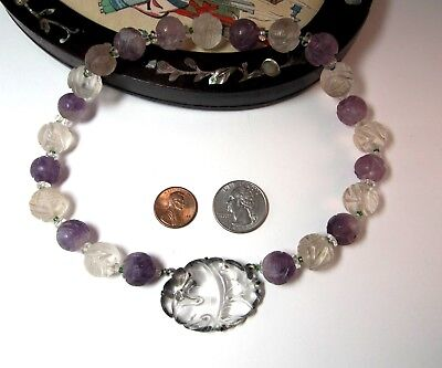 Old Chinese carved rock crystal/pendant & amethyst Shou beads necklace
