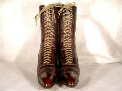 Vintage Edwardian Period Burgundy Red Leather Lace Up Boots UK 6.5/US 8.5