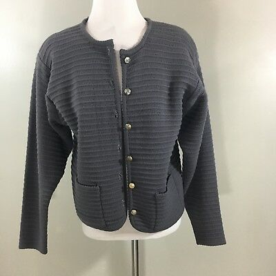 Vintage 1950's Henry Pollak Tally-Ho Wool Cableknit Cardigan Sweater Sz M