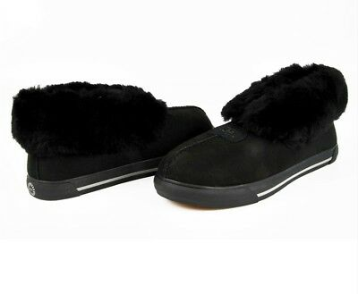 717b1fbd666 UGG AUSTRALIA NERNIE Women's Black Genuine Leather Fur Slippers ...