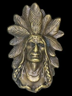 Vtg NOS 1974 Native American Indian Chief Feather Hippy Art Western Belt Buckle