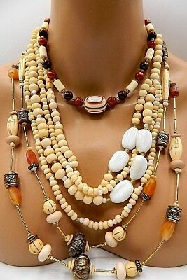 Vintage & New Lot of 3 Necklace Faux Bone,Glass,Signed Casual Corner, CATO