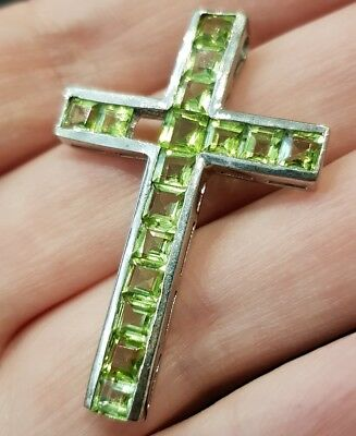 Peridot Sterling Silver Cross Pendant (with a gem missing)