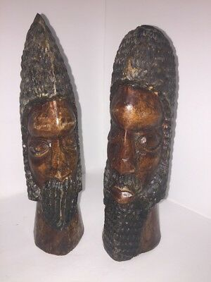 70's Vntg African Tribal Hand Carved Solid Wood Tribal Head Statue Bookends Art