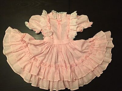 VTG Frilly Pink Dress Toddler Girl's Calico Ruffles Lace Party