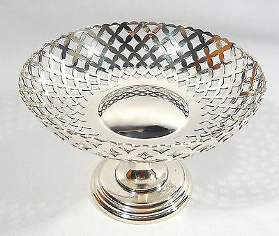 Heavy 1916 Sterling Silver Pierced Pedestal Center Dish / Compote / Candy 269 gr